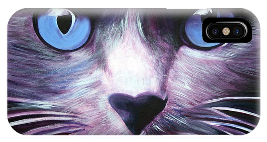 Cats IPhone X Case featuring the painting The Guardian by Fiona Jack