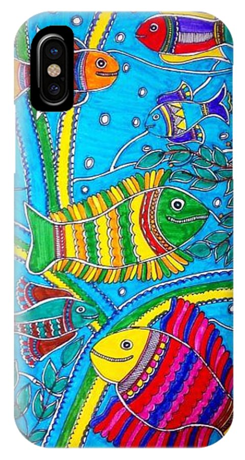 Madhubani IPhone X Case featuring the painting The Happy Fishes by Vertikaa Singh