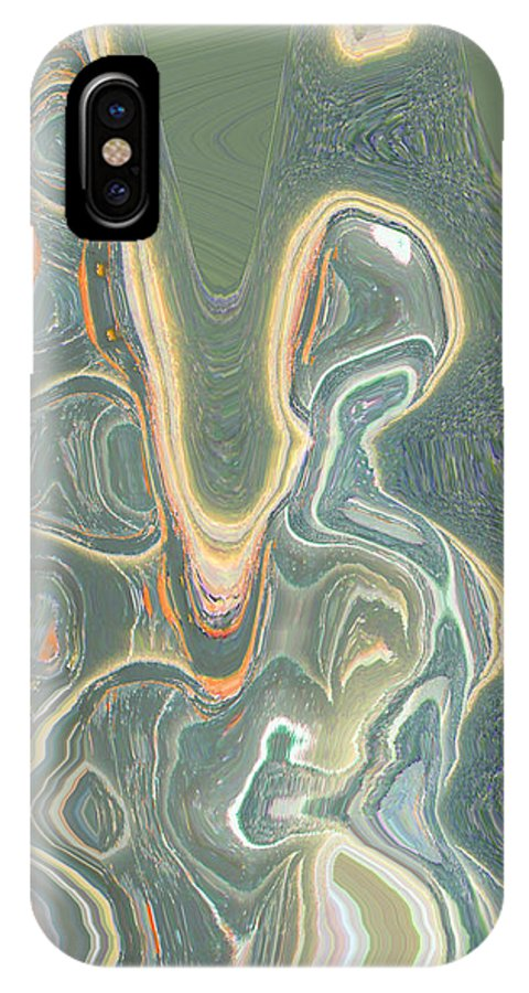 Abstract IPhone X Case featuring the digital art The Harp Player by Lenore Senior