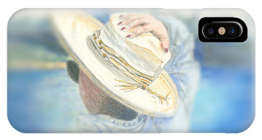 Hat IPhone X Case featuring the mixed media The Hat by Arline Wagner