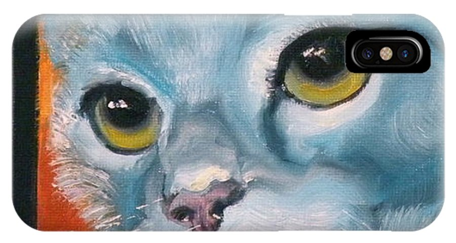 Cat IPhone X Case featuring the painting The Heart Is A Lonely Hunter by Susan A Becker