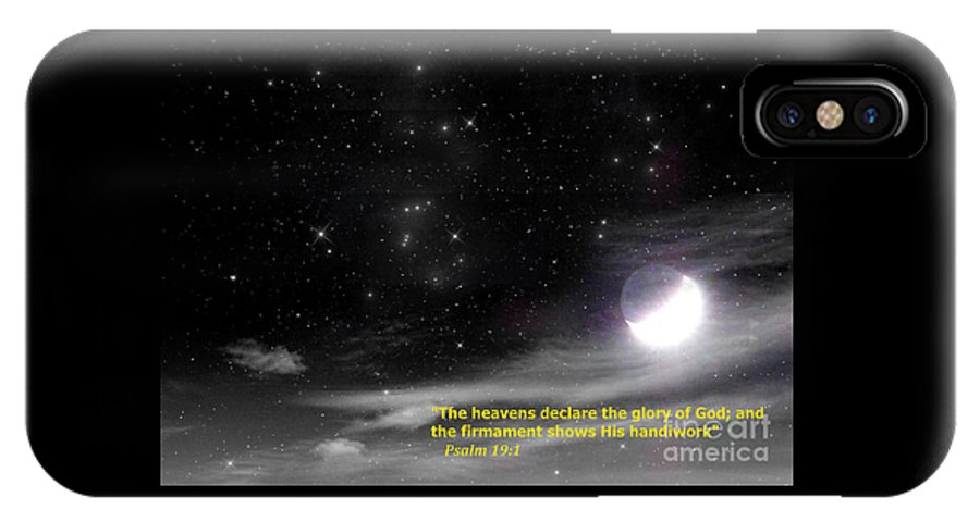 Bible Verse IPhone X Case featuring the digital art The Heavens Declare The Glory Of God by Charles Robinson