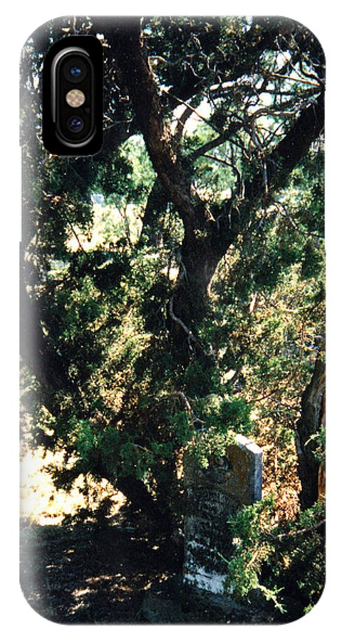 Hidden Grave Stone Mesquite IPhone X Case featuring the photograph The Hidden Grave by Cindy New