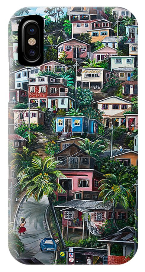 Landscape Painting Cityscape Painting Houses Painting Hill Painting Lavantille Port Of Spain Painting Trinidad And Tobago Painting Caribbean Painting Tropical Painting Caribbean Painting Original Painting Greeting Card Painting IPhone X Case featuring the painting The Hill   Trinidad by Karin Dawn Kelshall- Best