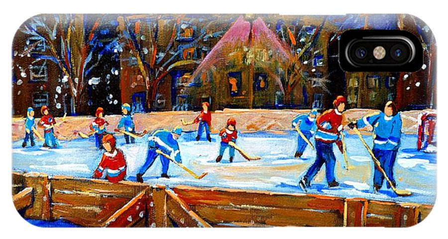 Snow IPhone Case featuring the painting The Hockey Rink by Carole Spandau