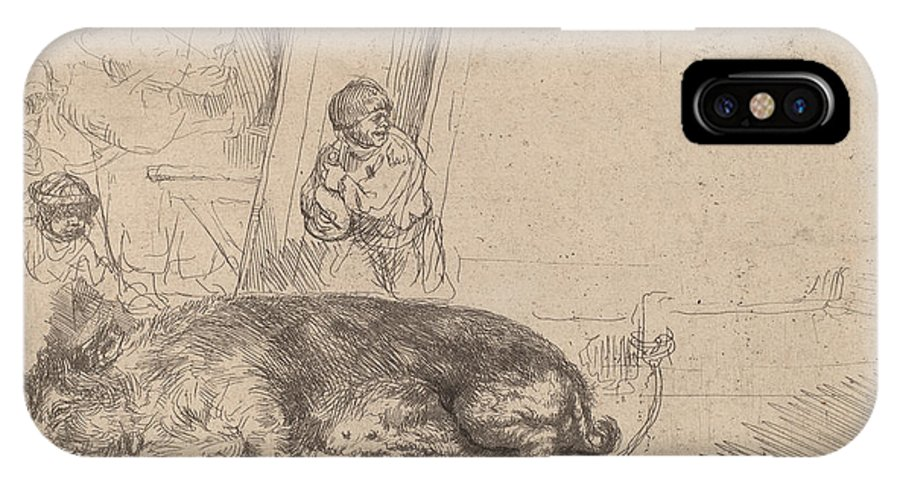 IPhone X Case featuring the drawing The Hog by Rembrandt Van Rijn