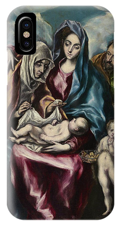 Blessed Virgin Mary IPhone X Case featuring the painting The Holy Family by El Greco