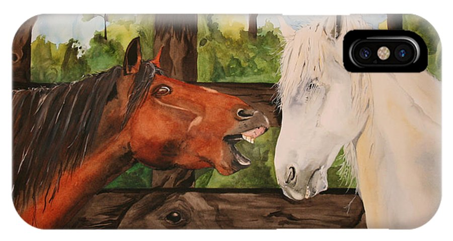 Horse IPhone X Case featuring the painting The Horse Whisperers by Jean Blackmer