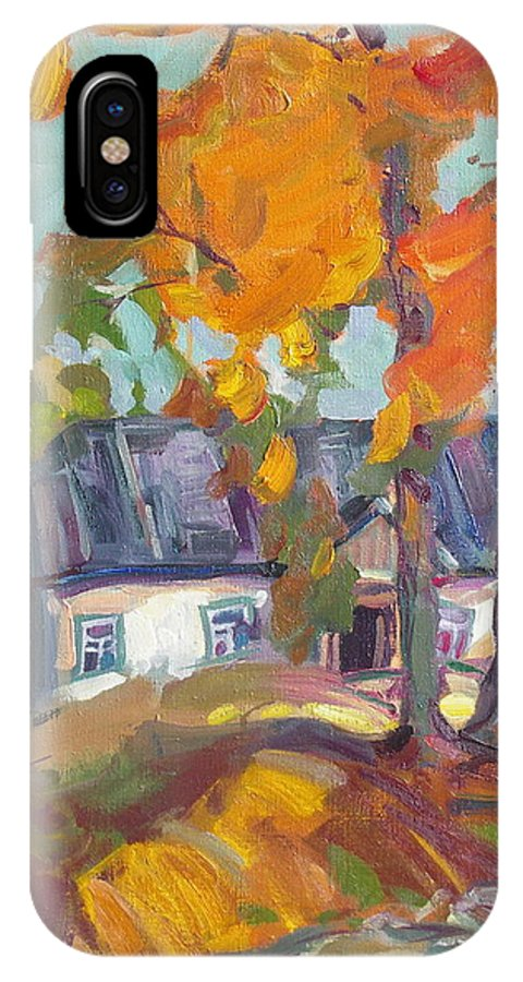 Oil IPhone X Case featuring the painting The House In Chervonka Village by Sergey Ignatenko