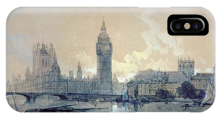 The IPhone X Case featuring the painting The Houses Of Parliament by David Roberts