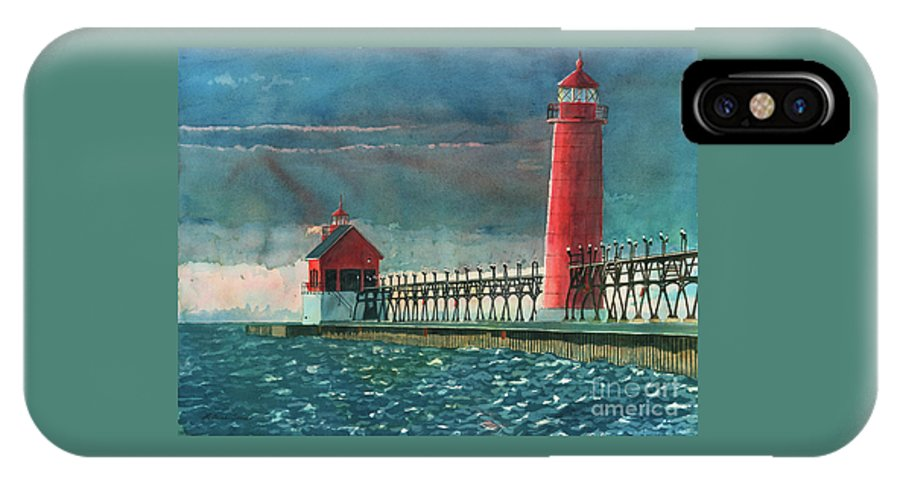 Lighthouses IPhone Case featuring the painting The Impending Storm by LeAnne Sowa
