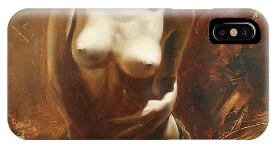 Oil IPhone X Case featuring the painting The incinerating passion by Sergey Ignatenko