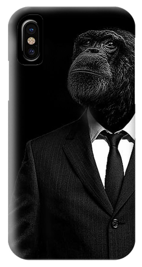 Chimpanzee IPhone X Case featuring the photograph The Interview by Paul Neville