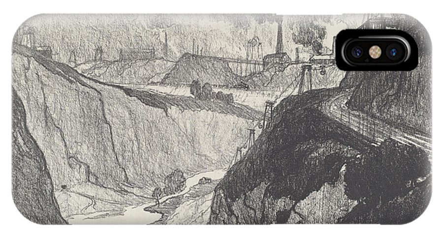 IPhone X Case featuring the drawing The Iron Mine by Joseph Pennell