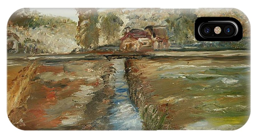 Landscape IPhone X Case featuring the painting The Irrigation Canal by Edward Wolverton
