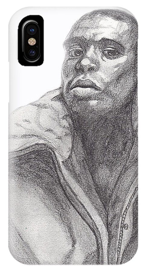 Jacket IPhone X Case featuring the drawing The Jacket by Jean Haynes