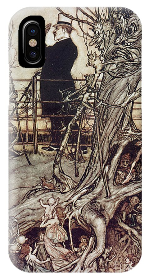 Arthur Rackham IPhone X Case featuring the drawing The Kensington Gardens Are In London Where The King Lives by Arthur Rackham