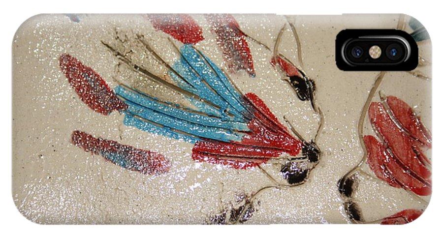 Gloria Ssali IPhone X Case featuring the ceramic art The Kiss - Tile 4 by Gloria Ssali