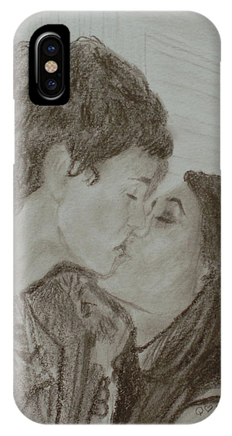 Kiss IPhone Case featuring the drawing The Kiss by Quwatha Valentine