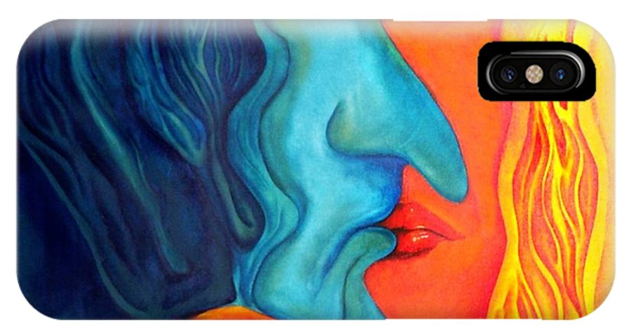 Kiss Love Passion Couple Intensity Blue Orange Fire Lust Sex IPhone X Case featuring the painting The Kiss by Veronica Jackson