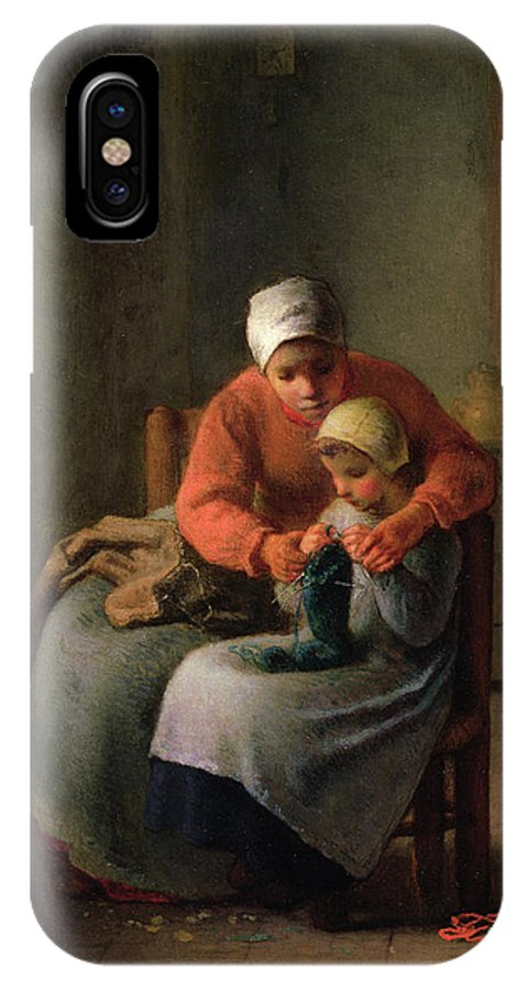 Barbizon School IPhone X Case featuring the painting The Knitting Lesson by Jean-Francois Millet
