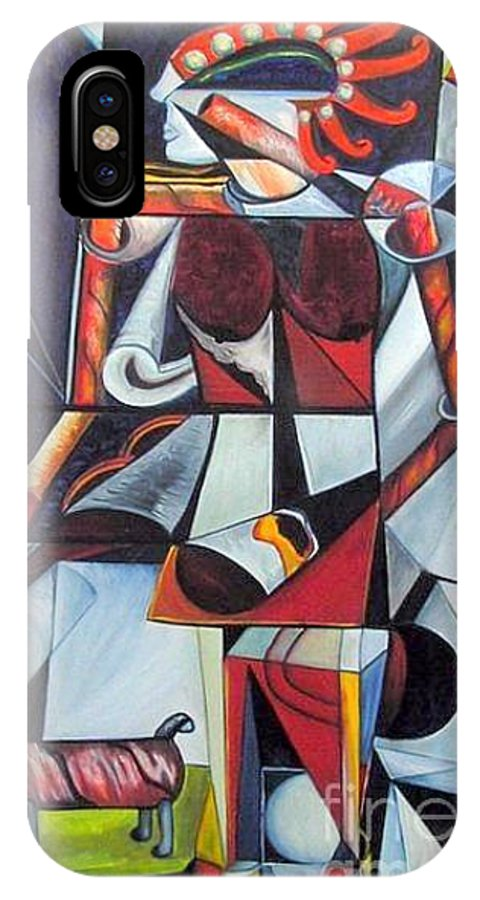 Cubism IPhone X Case featuring the painting The Lady And Her Dog by Pilar Martinez-Byrne