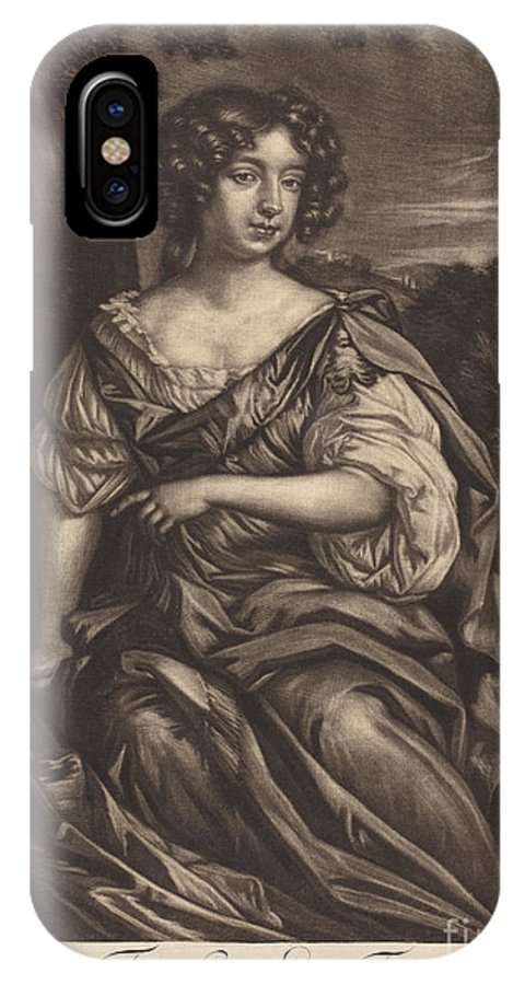 IPhone X Case featuring the drawing The Lady Essex Finch by Alexander Browne After Sir Peter Lely