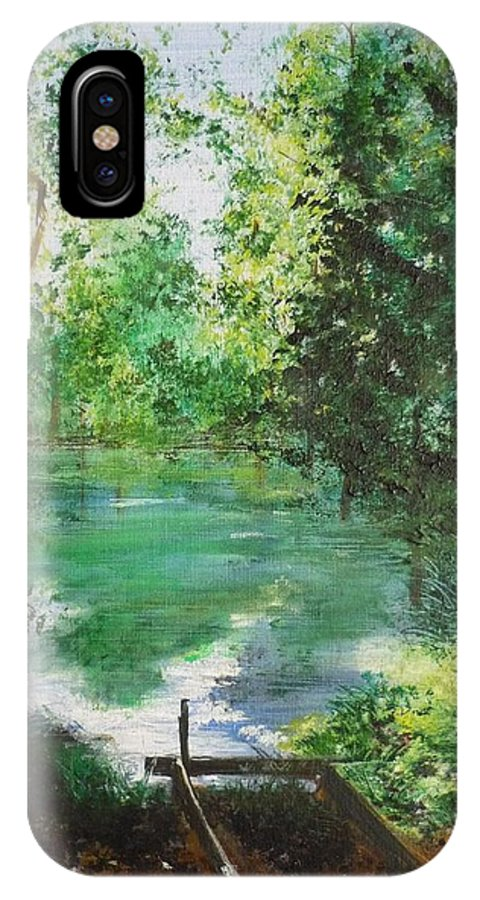 Lake IPhone X Case featuring the painting The Lake At Stansted Unfinished by Lizzy Forrester