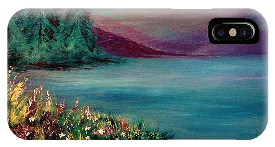 Landscape IPhone X Case featuring the painting The Lake by Robin Monroe