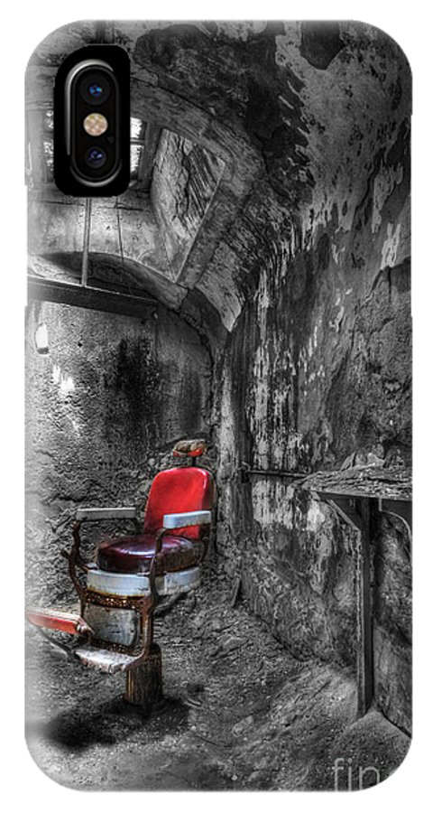 Lee Dos Santos IPhone X Case featuring the photograph The Last Cut- Barber Chair - Eastern State Penitentiary by Lee Dos Santos