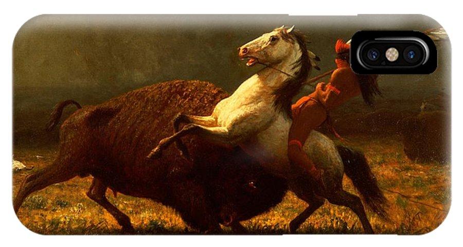 Albert Bierstadt IPhone X Case featuring the painting The Last Of The Buffalo by Albert Bierstadt