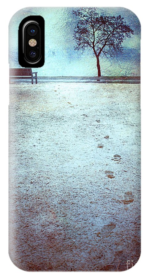 Bench IPhone X Case featuring the photograph The Last Snowfall by Tara Turner
