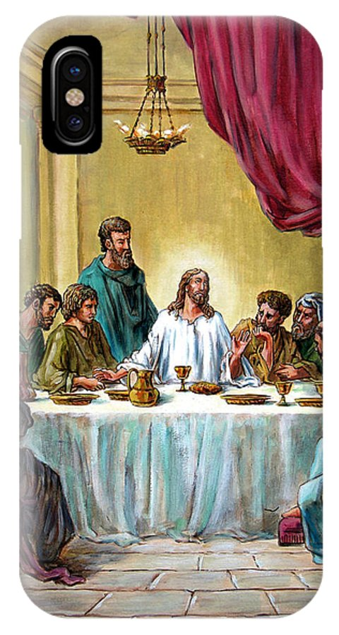 Jesus IPhone Case featuring the painting The Last Supper by John Lautermilch