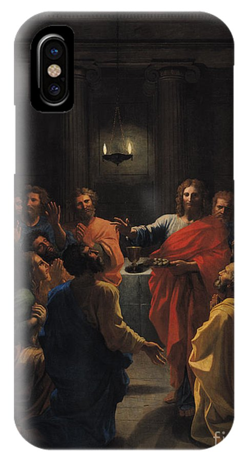 Christ Instituting The Eucharist IPhone X Case featuring the painting The Last Supper by Nicolas Poussin