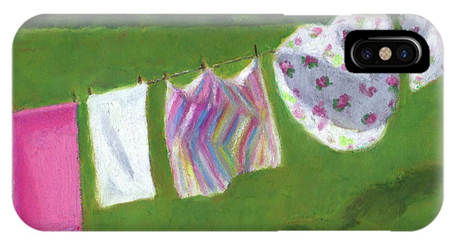 Laundry IPhone Case featuring the pastel The Laundry On The Line by Joyce Geleynse
