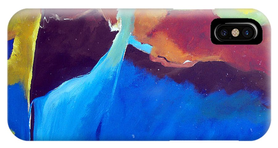 Abstract IPhone X Case featuring the painting The Lay Of The Land by Ruth Palmer