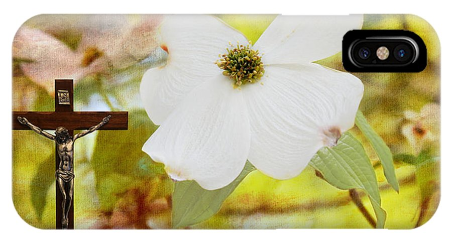 Bloodstains IPhone X Case featuring the photograph The Legend Of The Dogwood by Judy Vincent