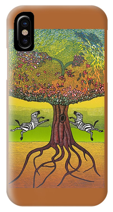 Landscape IPhone X Case featuring the mixed media The Life-giving Tree. by Jarle Rosseland