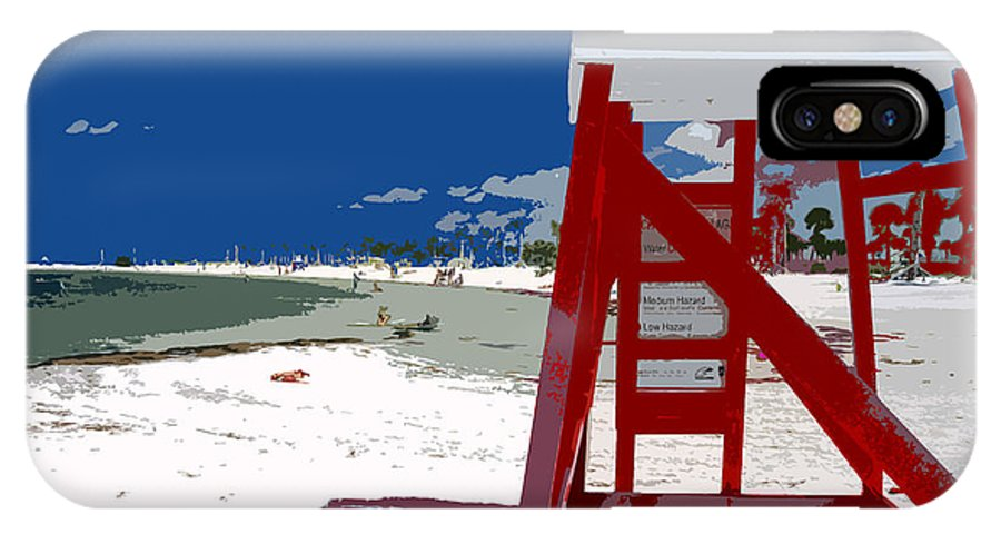 Lifeguard Stand IPhone X Case featuring the painting The Lifeguard Stand by David Lee Thompson