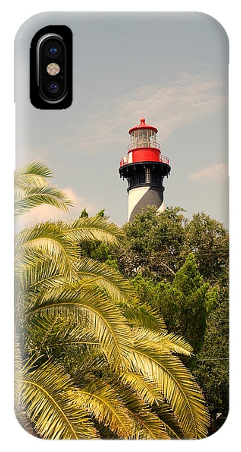 Lighthouse IPhone X Case featuring the photograph The Lighthouse In Saint Augusrtine Fl by Susanne Van Hulst