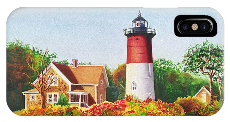 Lighthouse IPhone Case featuring the painting The Lighthouse by Karen Fleschler