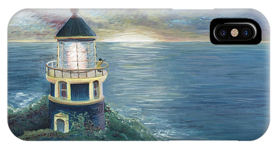 Lighthouse IPhone X Case featuring the painting The Lighthouse by Nadine Rippelmeyer