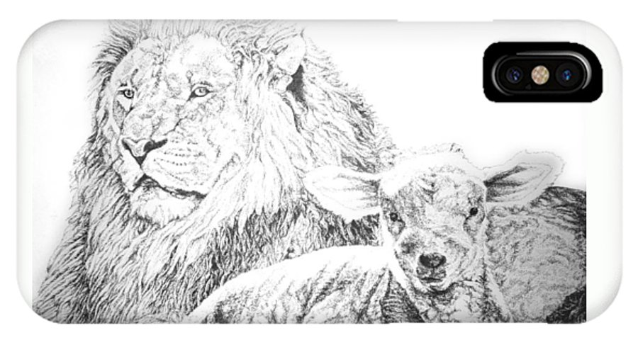 Lion IPhone X Case featuring the drawing The Lion And The Lamb by Bryan Bustard