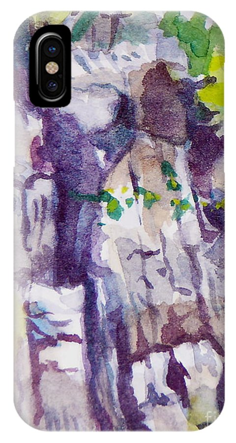 Purple IPhone Case featuring the painting The Little Climbing Wall by Jan Bennicoff