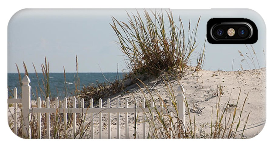 Beach IPhone X Case featuring the photograph The Little Dune And The White Picket Fence by Laura Martin