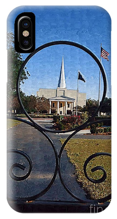 Church IPhone X Case featuring the photograph The Little Framed Church by Donna Bentley