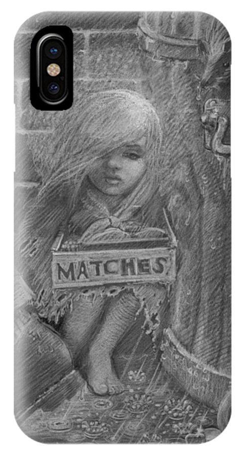 Hans Christian Andersen IPhone X Case featuring the drawing The Little Matchseller by David Dozier