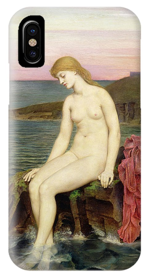 Rocks; Female; Nude; Girl; Mermaid; Hans Christian Andersen; Thoughtful; Pensive; Sunset; Crescent Moon; Castle; Cliff IPhone X Case featuring the painting The Little Sea Maid by Evelyn De Morgan