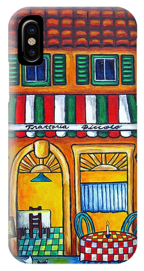Blue IPhone Case featuring the painting The Little Trattoria by Lisa Lorenz