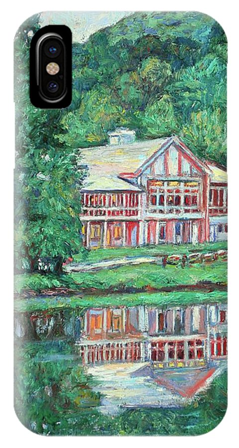 Lodge Paintings IPhone X Case featuring the painting The Lodge At Peaks Of Otter by Kendall Kessler